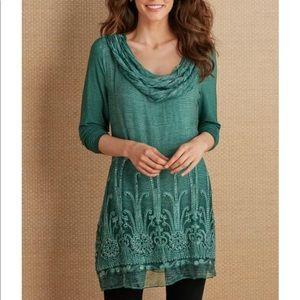 Soft Surroundings Silk Beaux Arts Tunic , L, Green